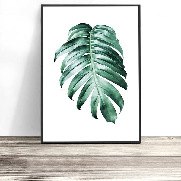 monstera leaf wall art tropical artwork