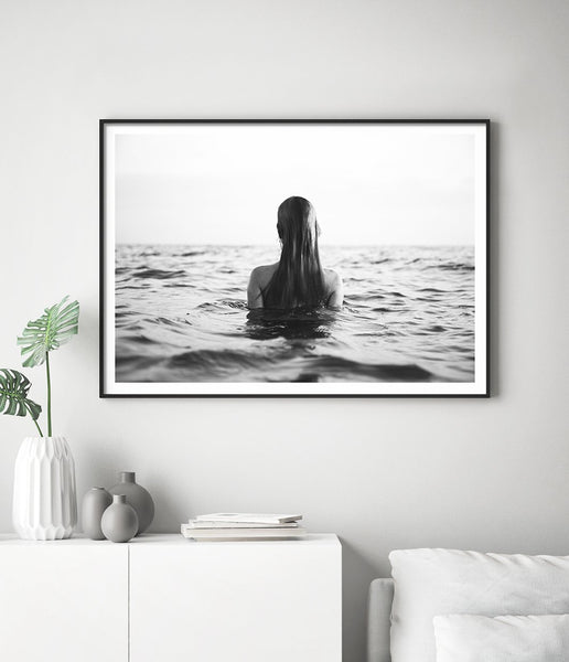black and white ocean photography print coastal wall art