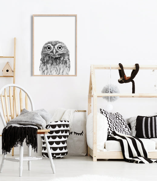 owl art print kids room print boy