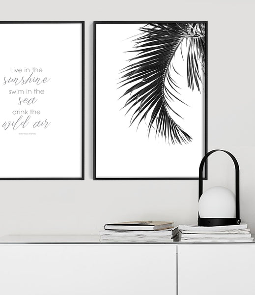 palm leaf print coastal wall art beach house wall art