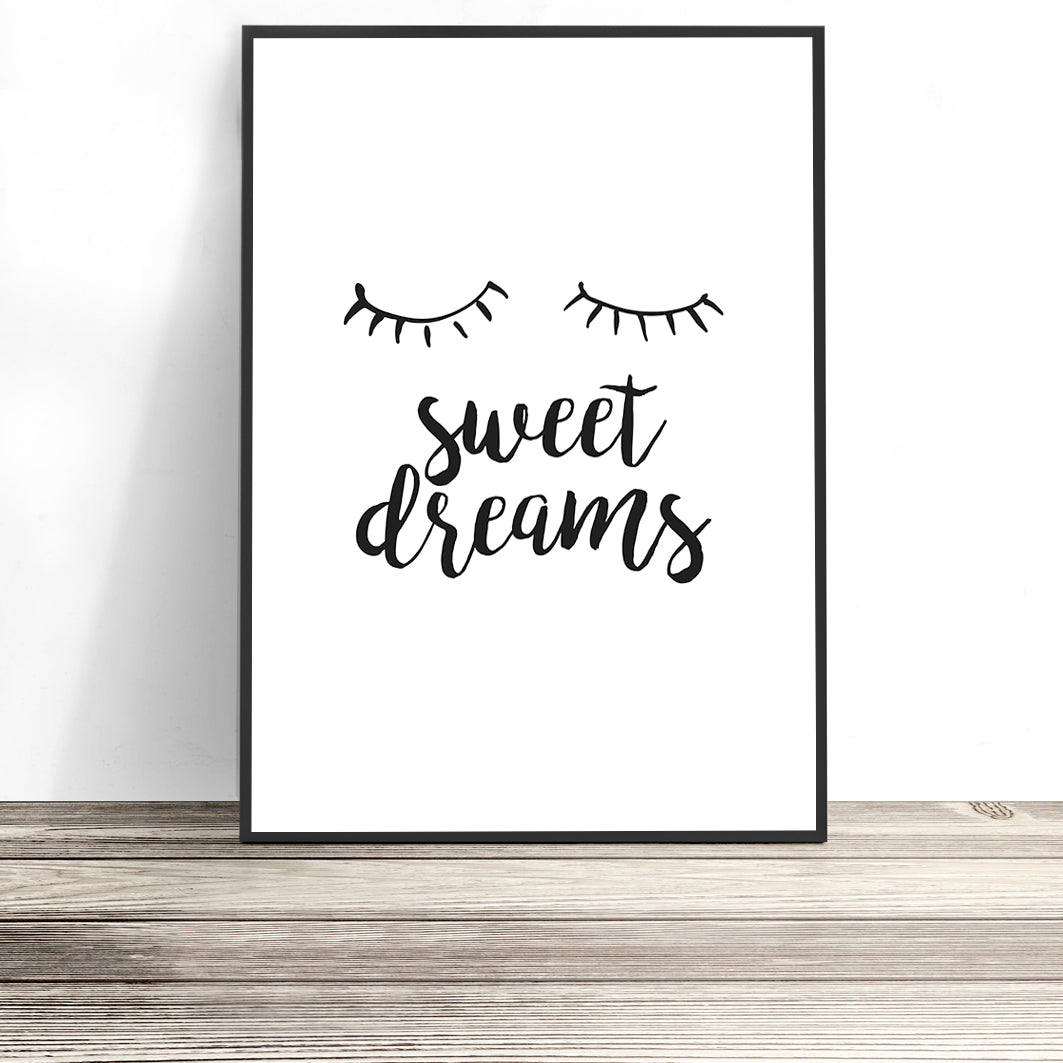 scandinavian kids room print sweet dreams nursery print