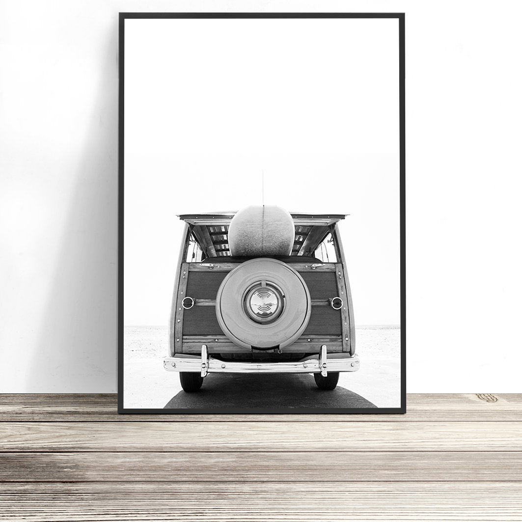 surf wall art vintage surf van art