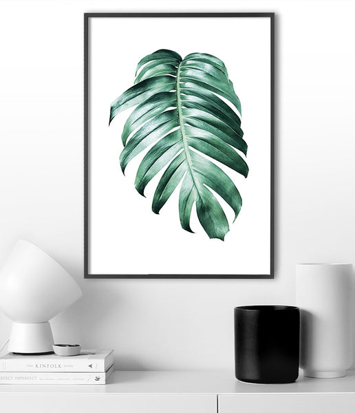 tropical leaf art monstera artwork