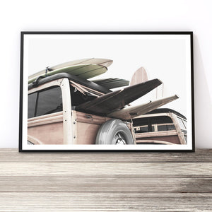 vintage surf van photography print coastal art