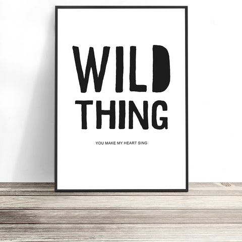 wild thing lyric print by little ink empire