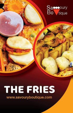 The Fries Collection Showing Samoosas, Moons and Mandos - Savoury Boutique