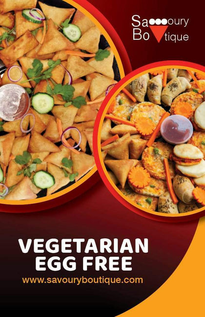 Vegetarian (Egg Free) Collection - Showing samoosas, pizza and shawarmas - Savoury Boutique