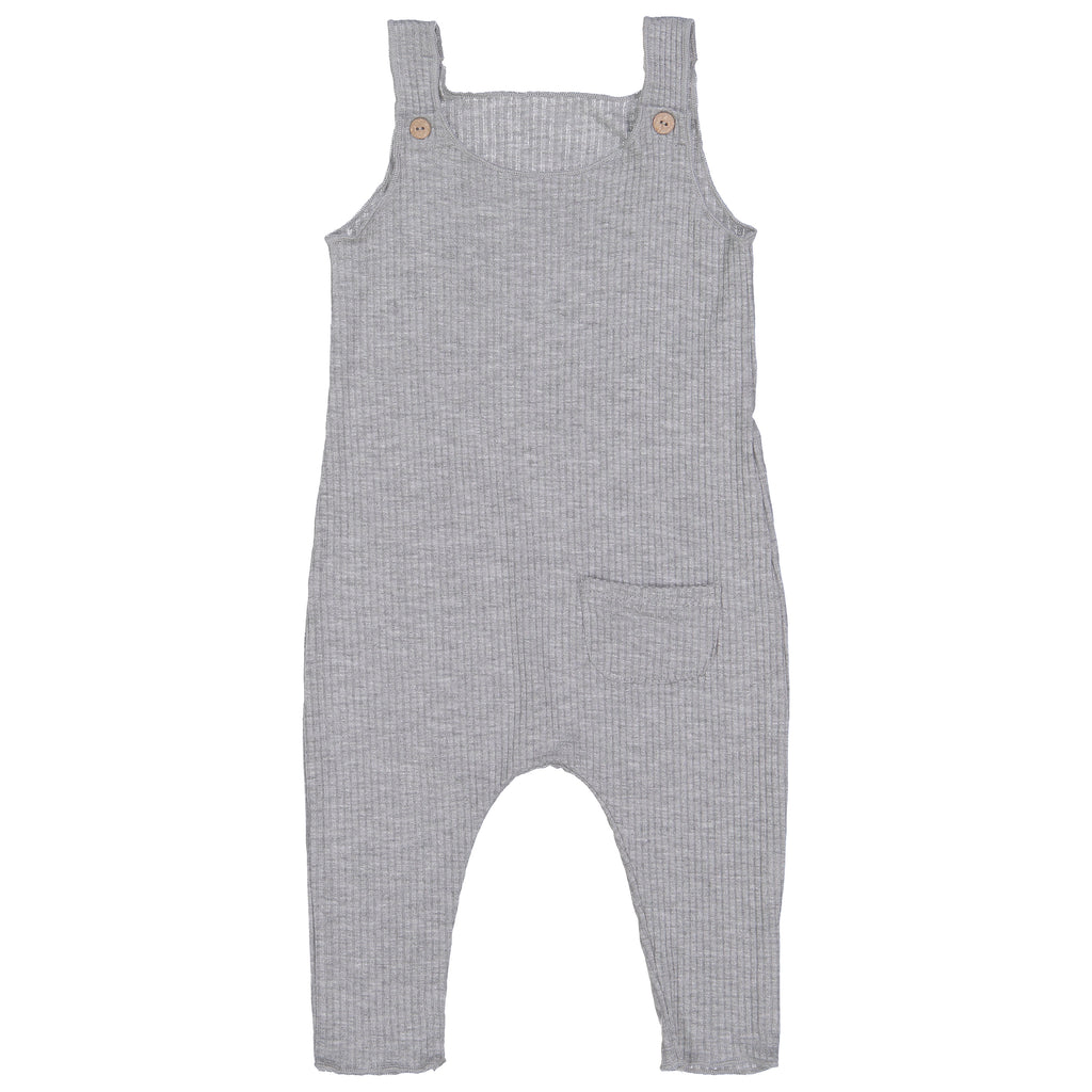 Winter Heather Gray Ribbed Overalls