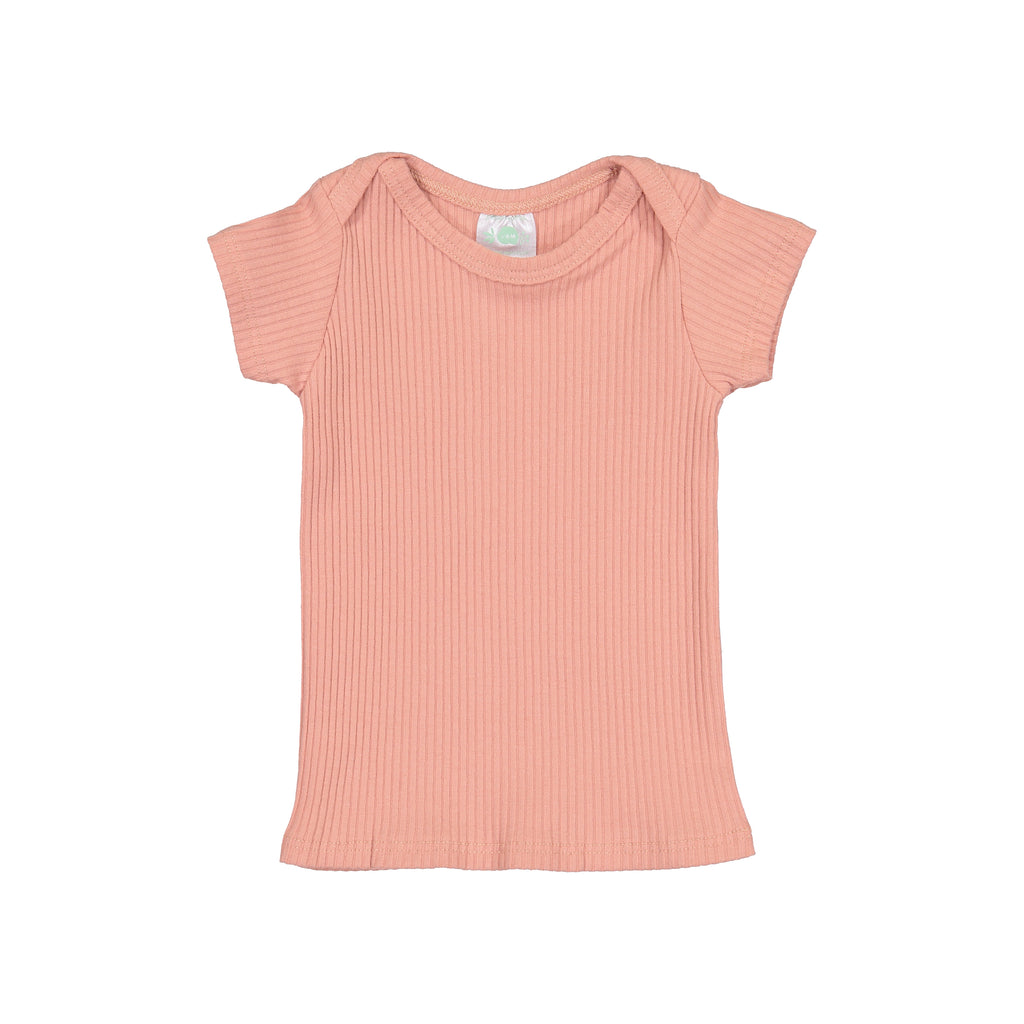 Apricot Ribbed Short Sleeve Lap Tee
