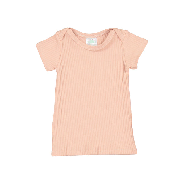 Blush Ribbed Short Sleeve Lap Tee