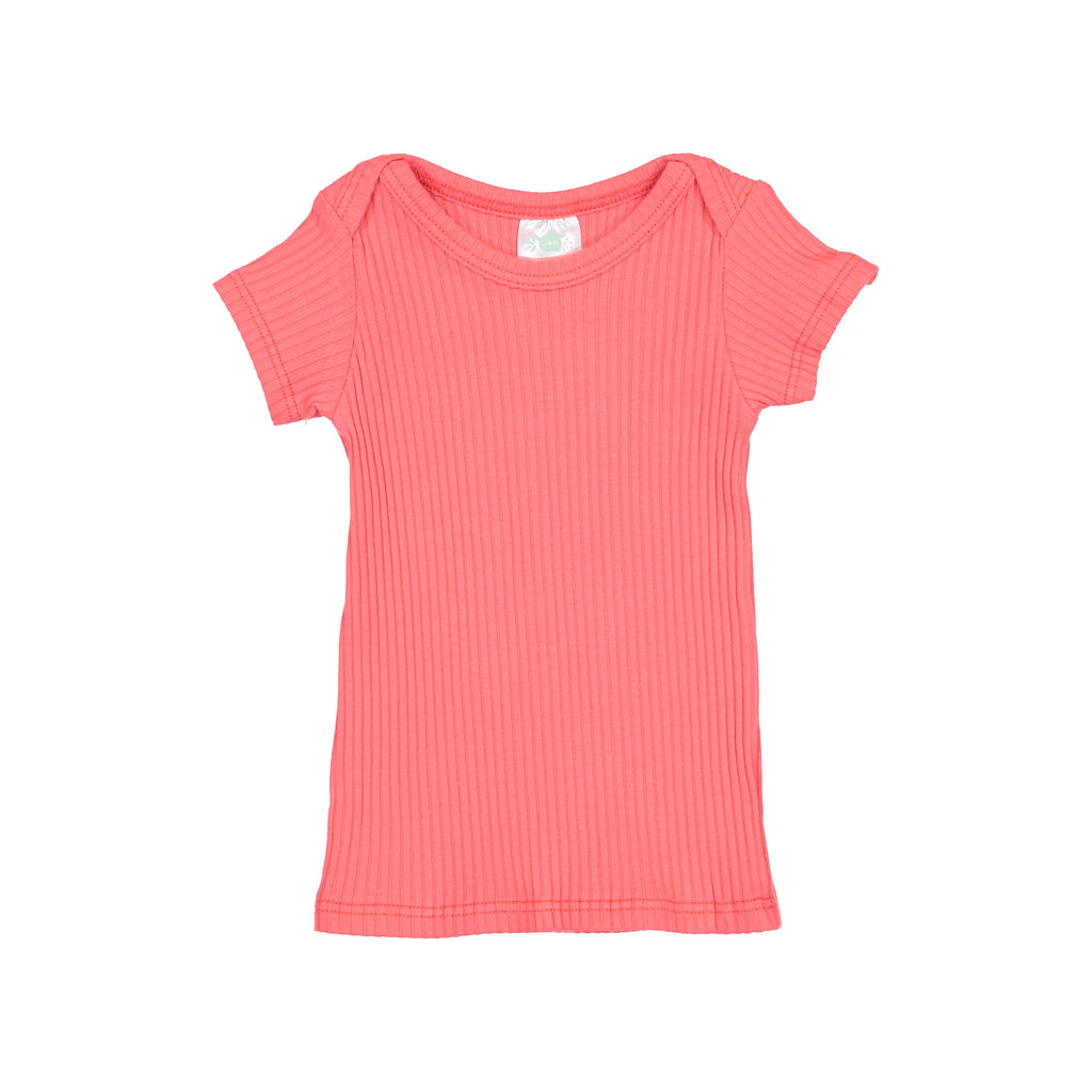 Pink Coral Ribbed Short Sleeve Lap Tee