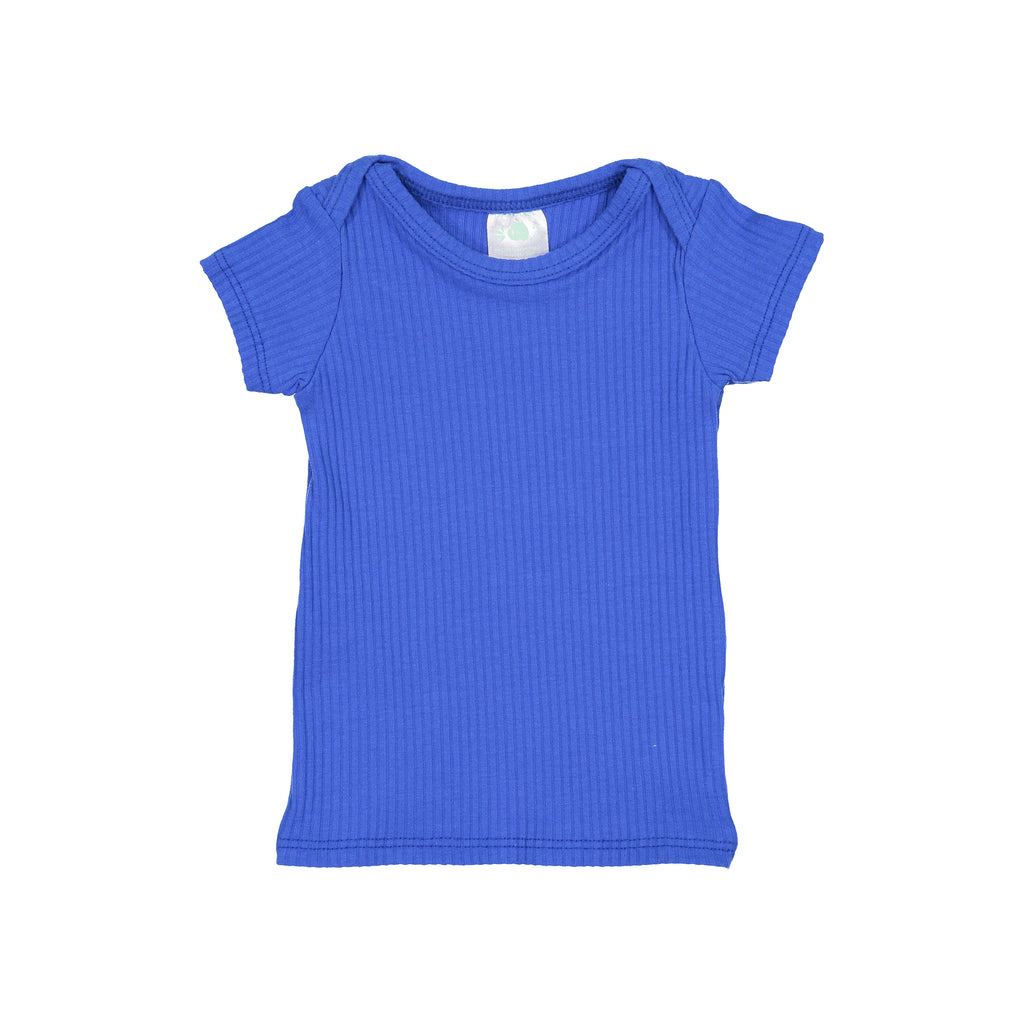 Royal Blue Ribbed Short Sleeve Lap Tee