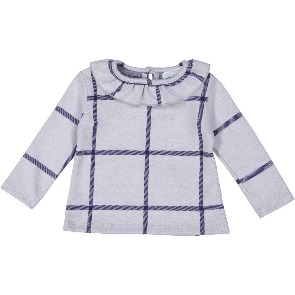 Navy Plaid Posh Winter Weave Ruffle Sweater X Eishes Style Collection