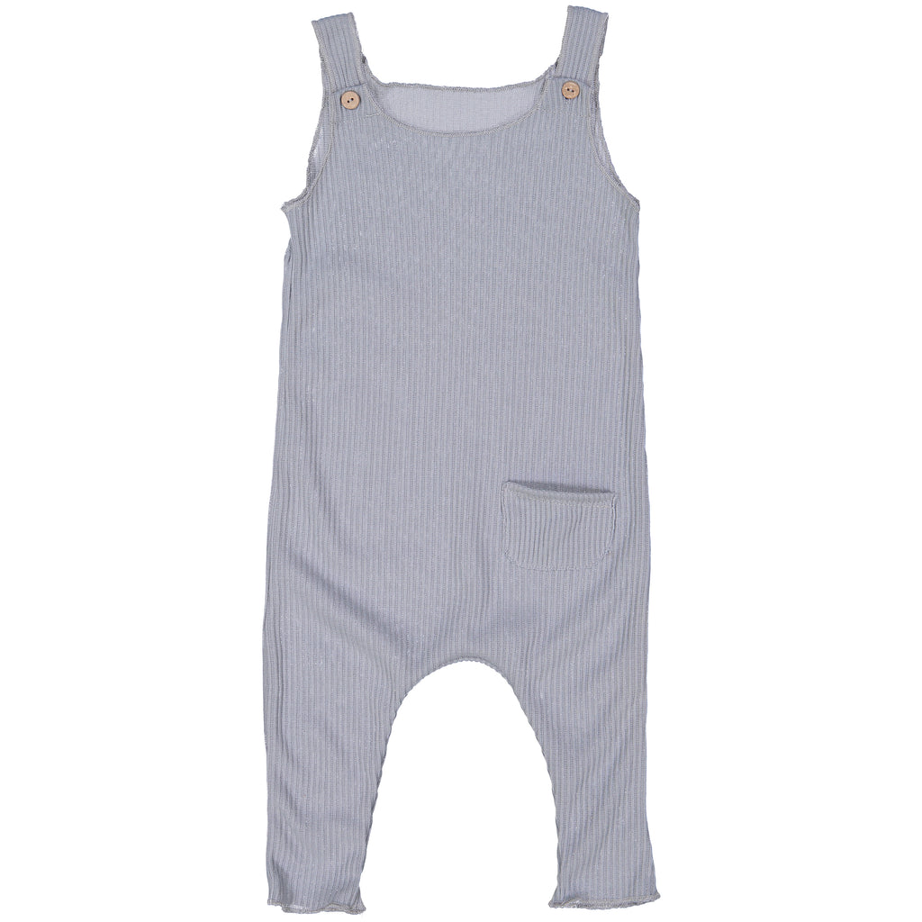 Silver Cerulean Ribbed Overalls