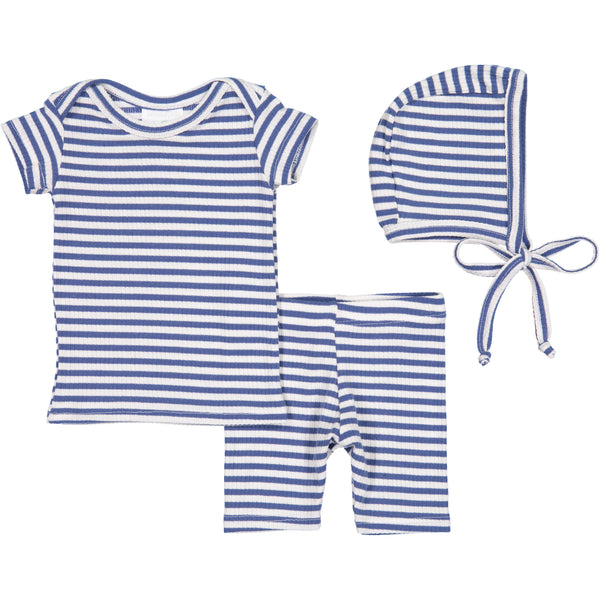 Nantucket Blue Stripe Lap Tee & Shorts Set