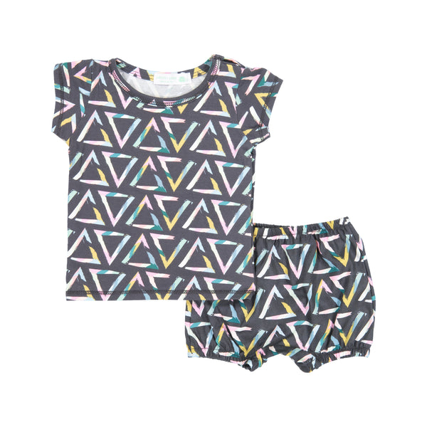 Triangle Brush Tempera Snap Shirt & Bloomer Set
