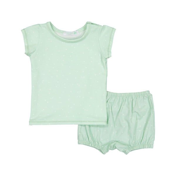 Pastel Moss Firefly Snap Shirt & Bloomer Set