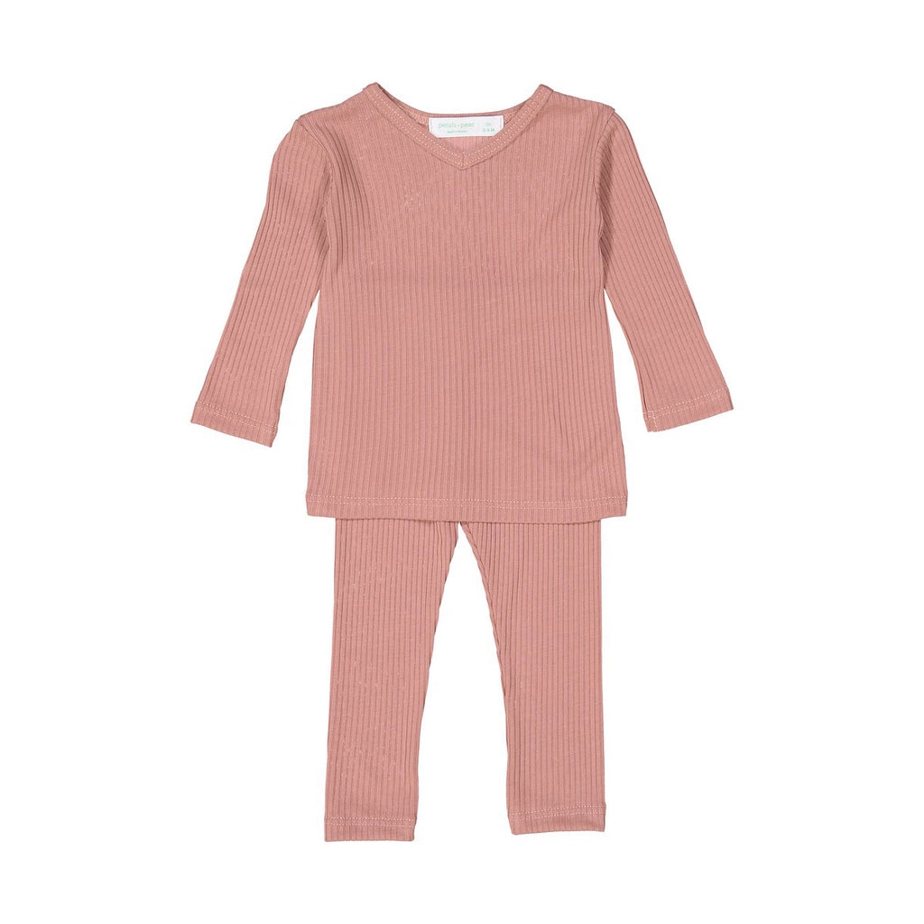 Rose Silky Soft Ribbed V- Neck Set