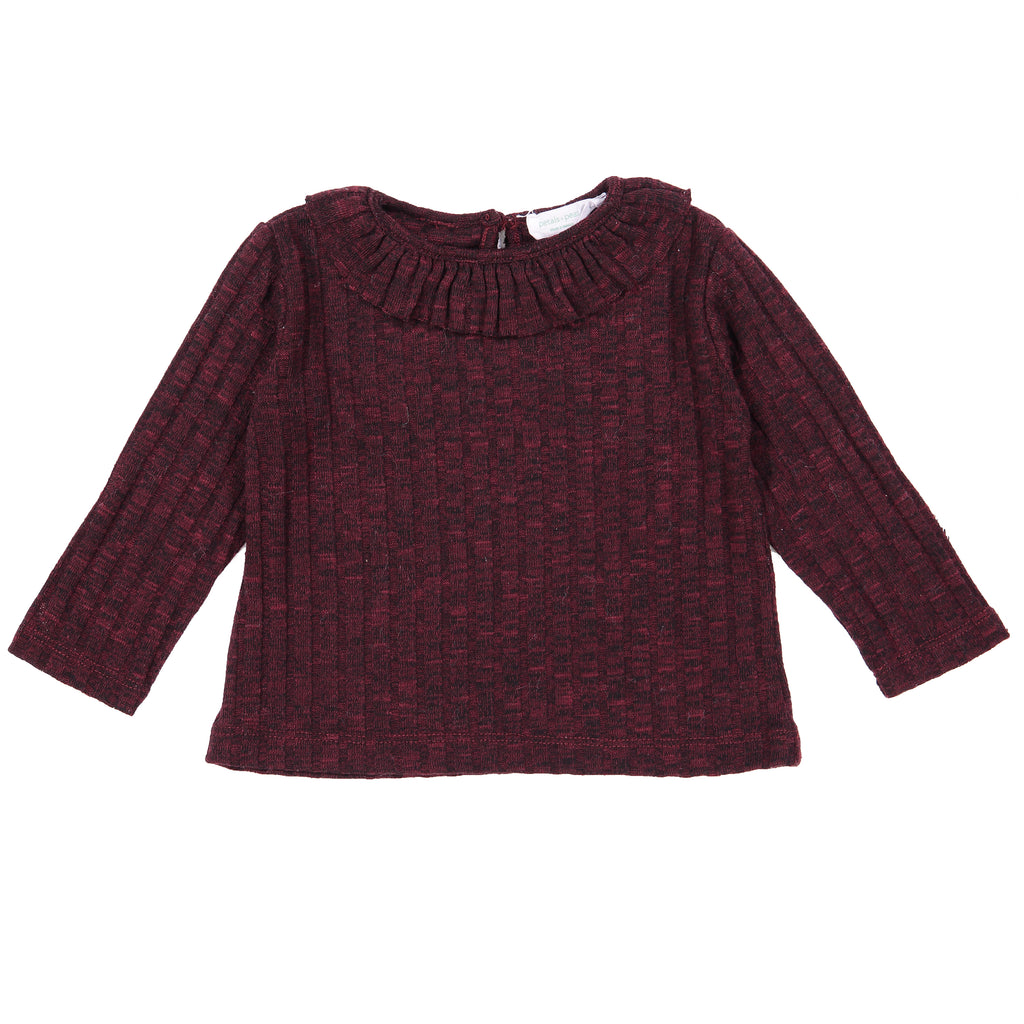 Heather Burgundy Ribbed Ruffle Sweater