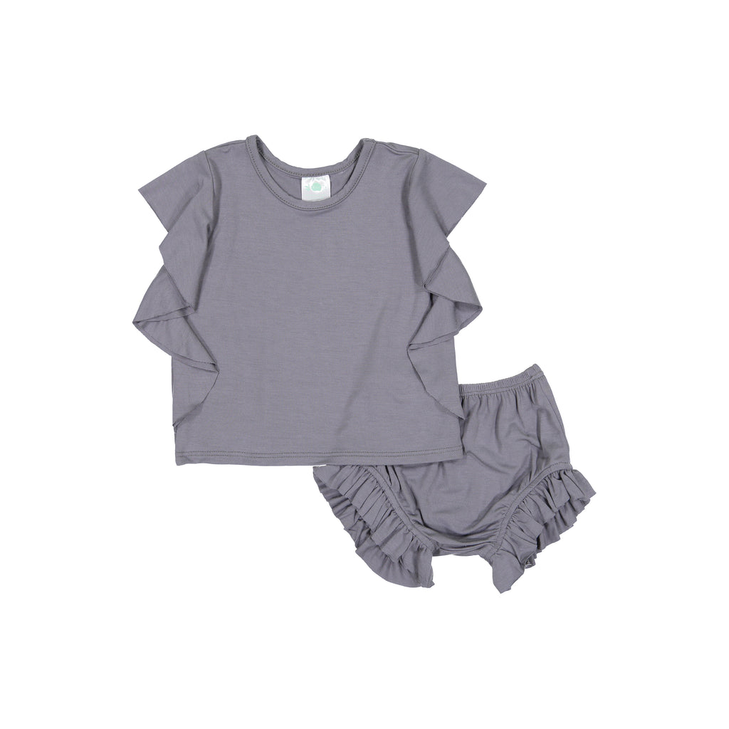Slate Side Ruffle Top & Bloomer Set