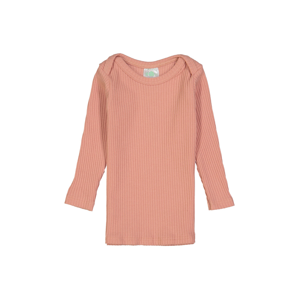 Apricot Ribbed Long Sleeve Lap Tee