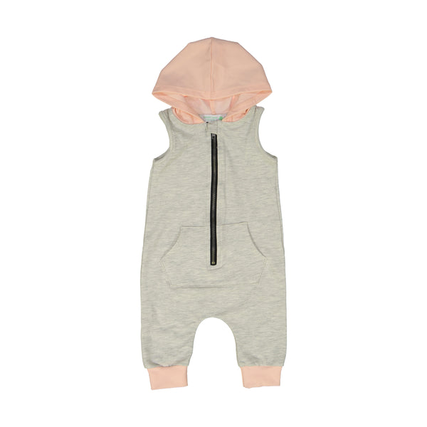 Oatmeal Gray & Light Peach Sleeveless Hooded Romper