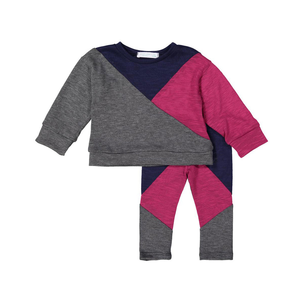 Navy + Magenta Geometric Sweater Set X Eishes Style Collection