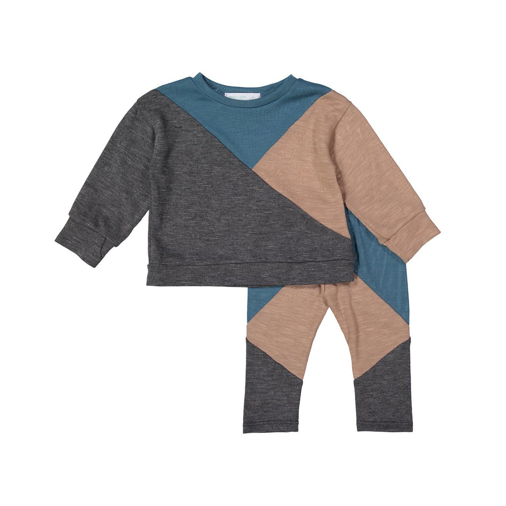 Camel + Aqua Geometric Sweater Set X Eishes Style Collection