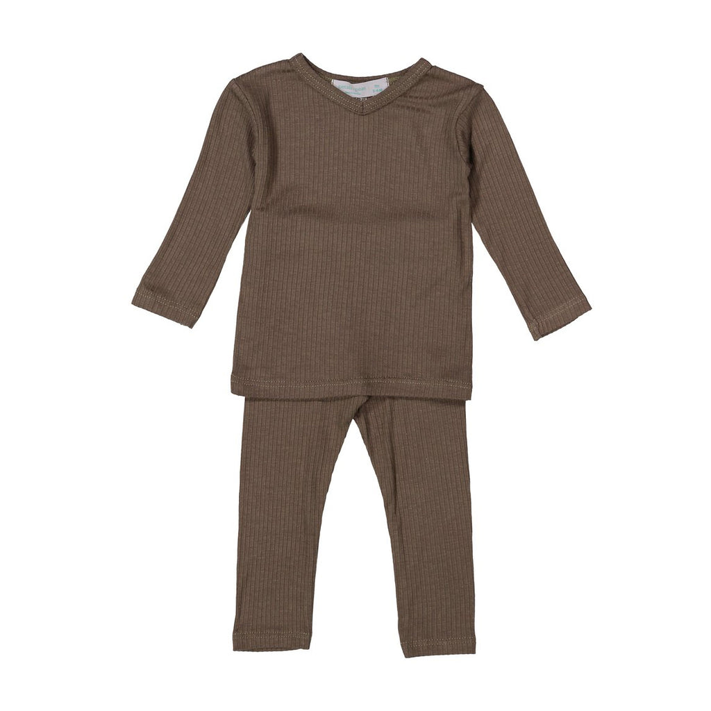Mocha Gray Silky Soft Ribbed V- Neck Set