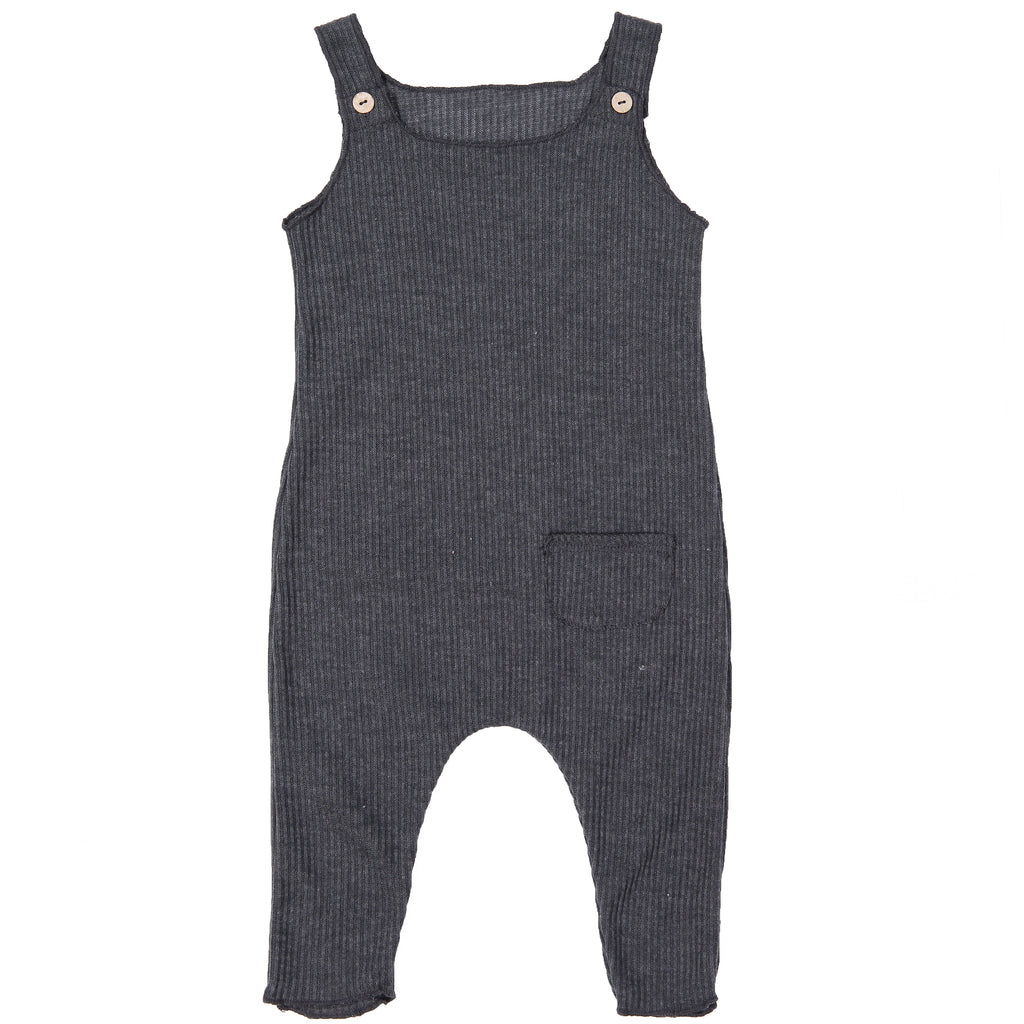 Charcoal Ribbed Overalls