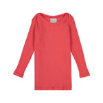 Pink Coral Ribbed Long Sleeve Lap Tee