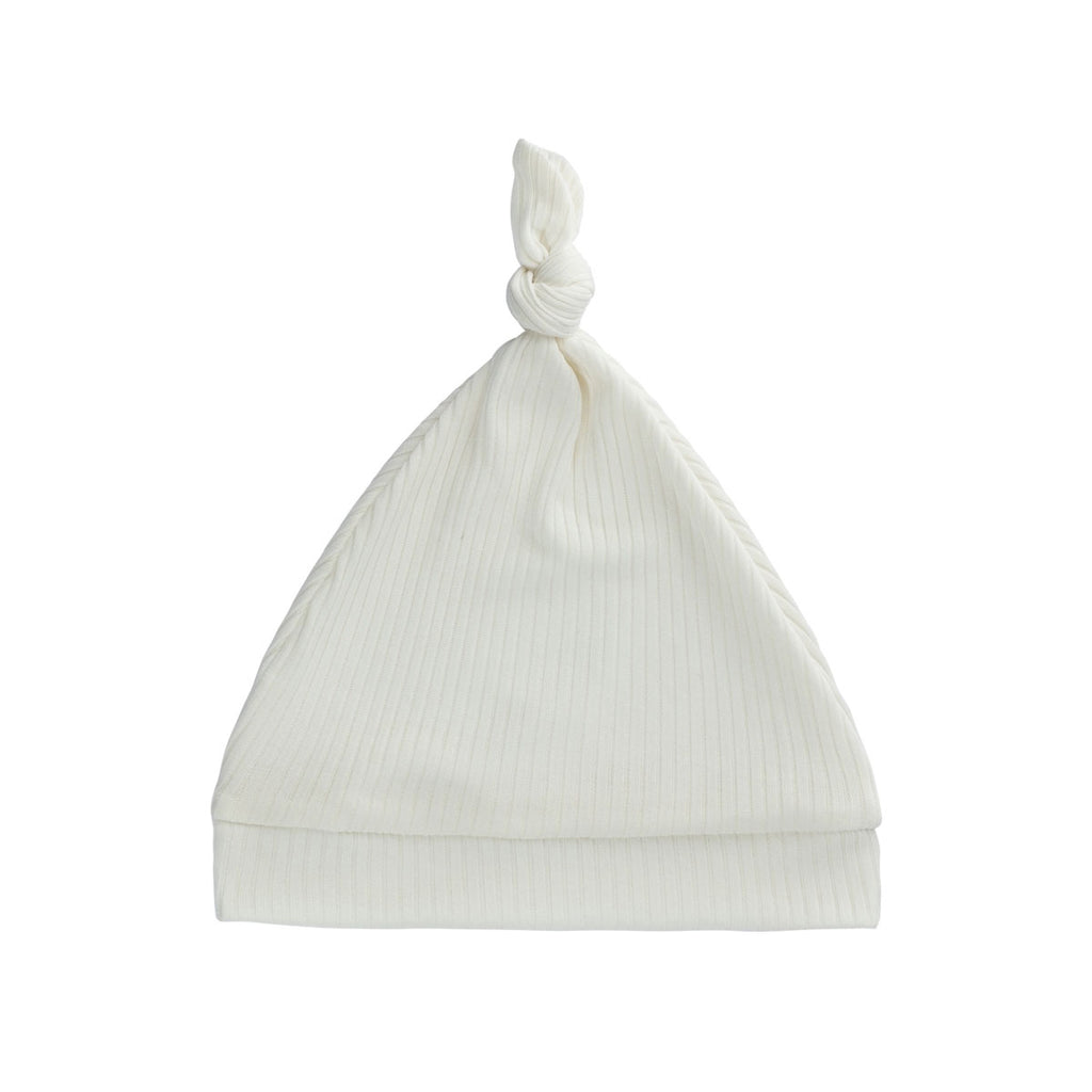Ivory Ribbed Knot Hat