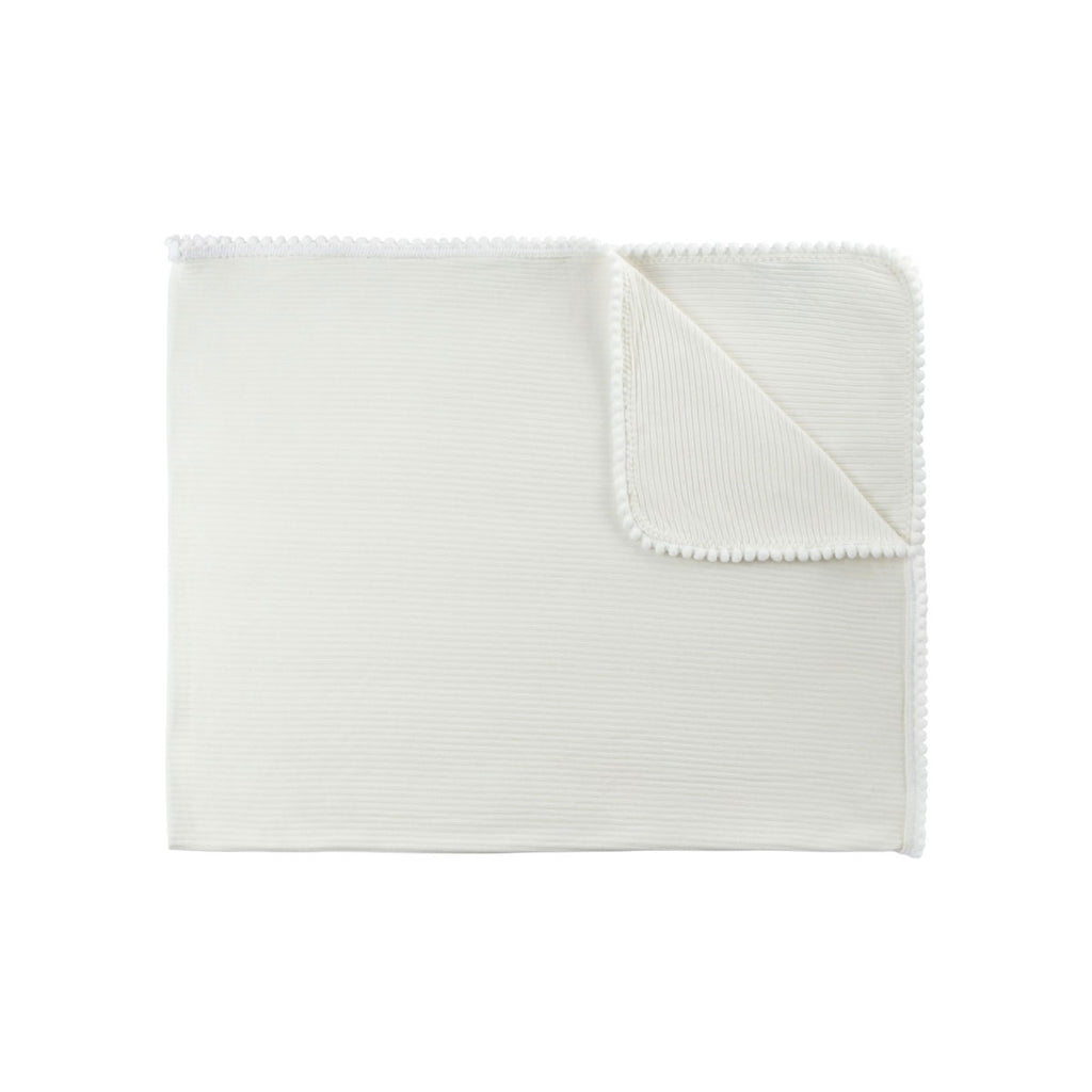 Ivory Ribbed Pom Pom Swaddle Blanket