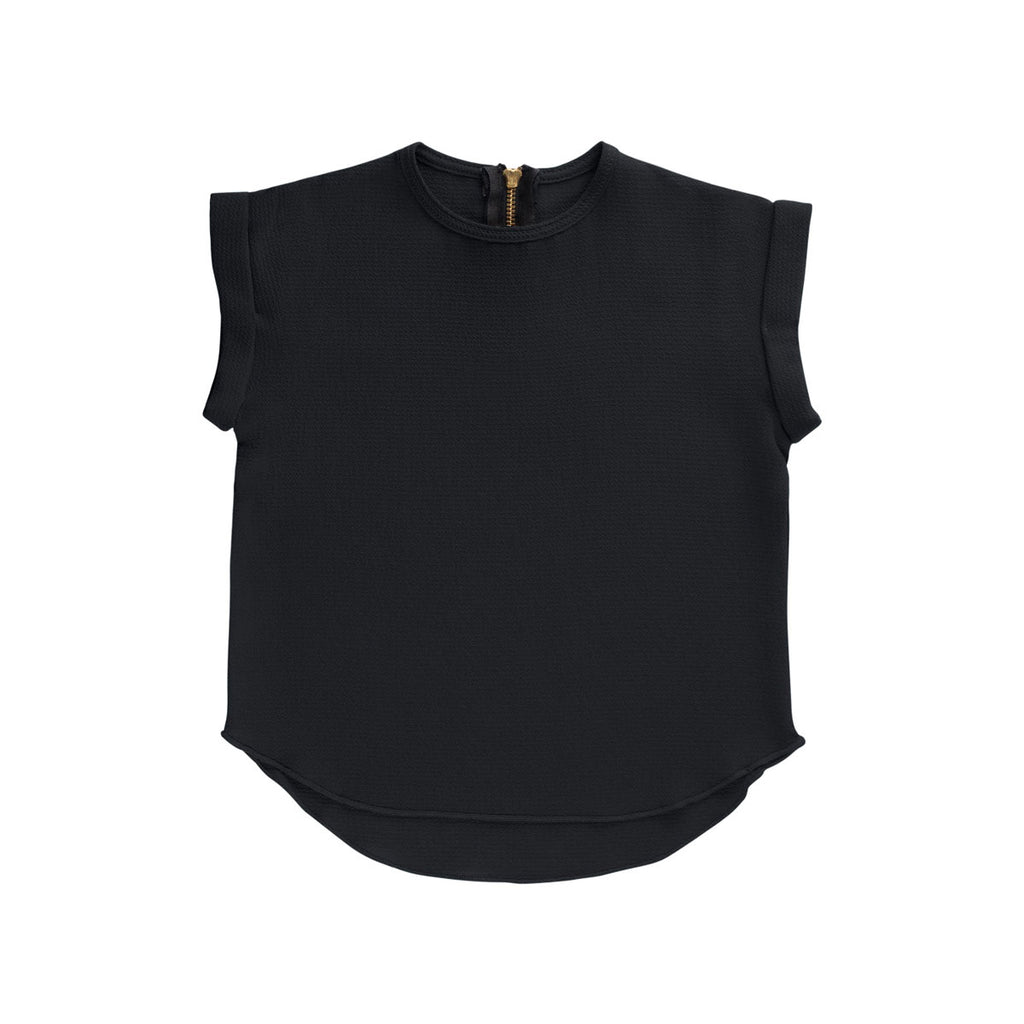 Black Essential Spring Rolled Sleeve Top