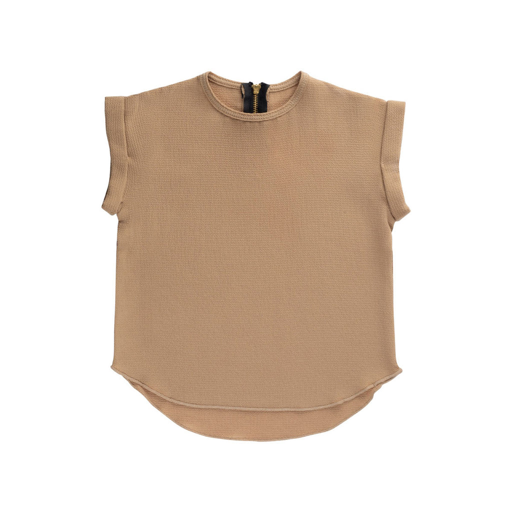 Sand Essential Spring Rolled Sleeve Top