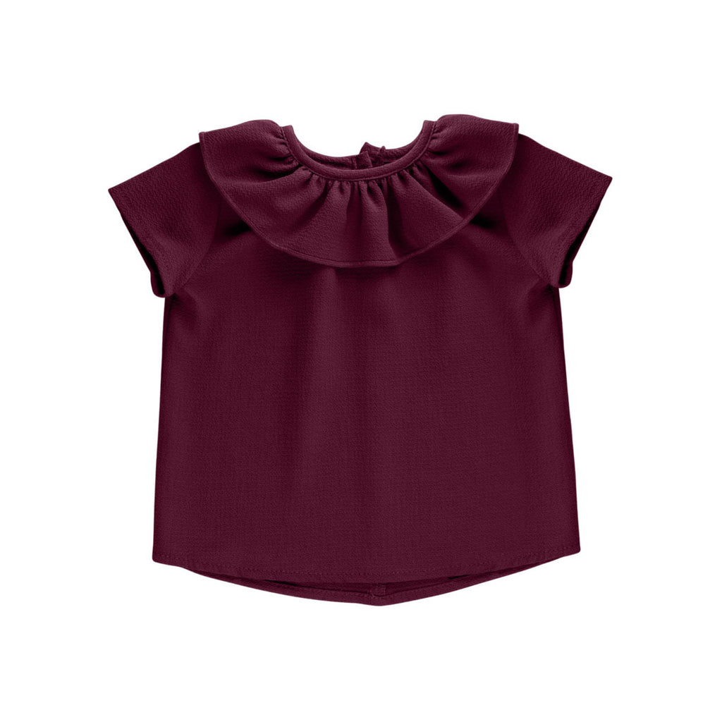 Burgundy Essential Spring Ruffle Top