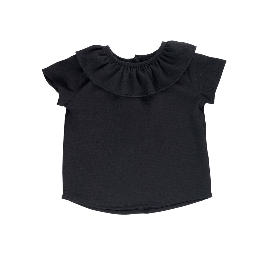 Black Essential Spring Ruffle Top