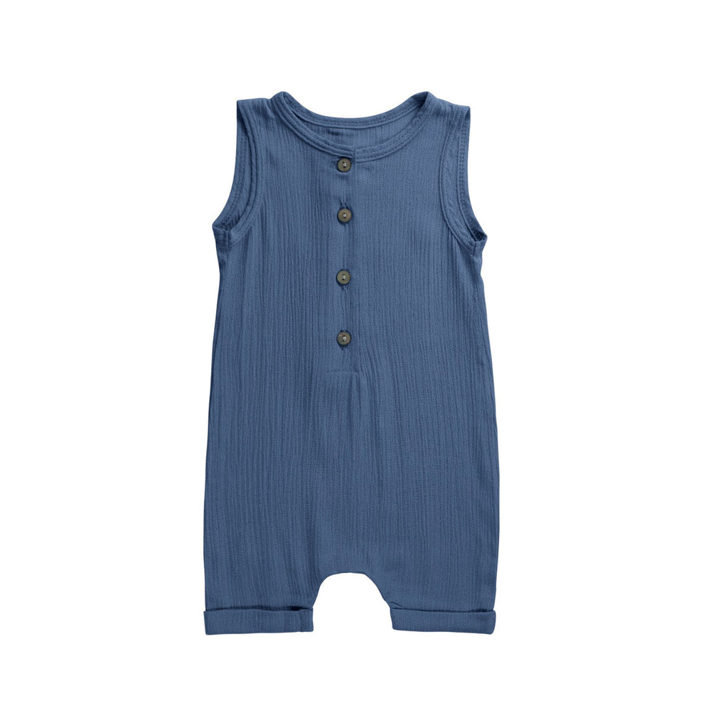 Sea Blue Buttoned Dapper Romper - By POSH