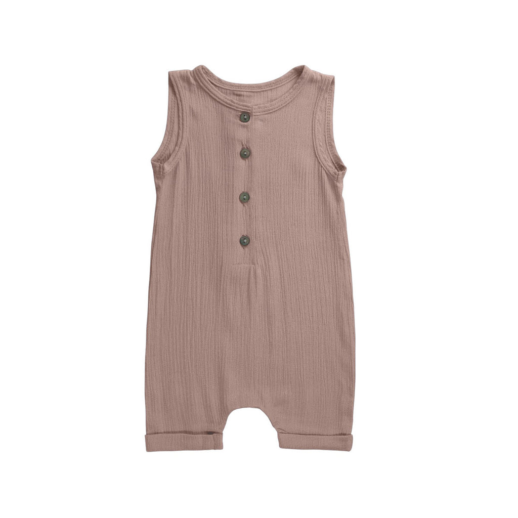 Taupe Buttoned Dapper Romper - By POSH
