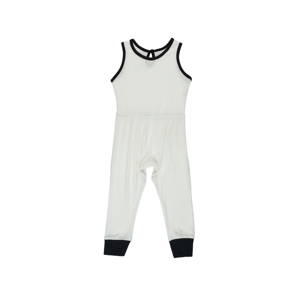 Ivory Ribbed Pantaloone Overalls