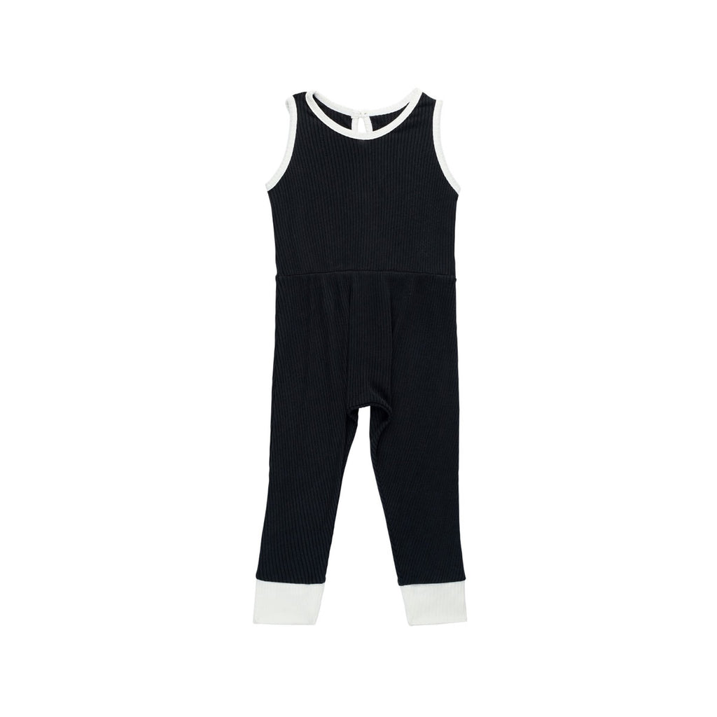 Washed Black Ribbed Pantaloone Overalls