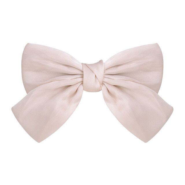 Oversize Silk Blush Cream Elegant Bow Clip
