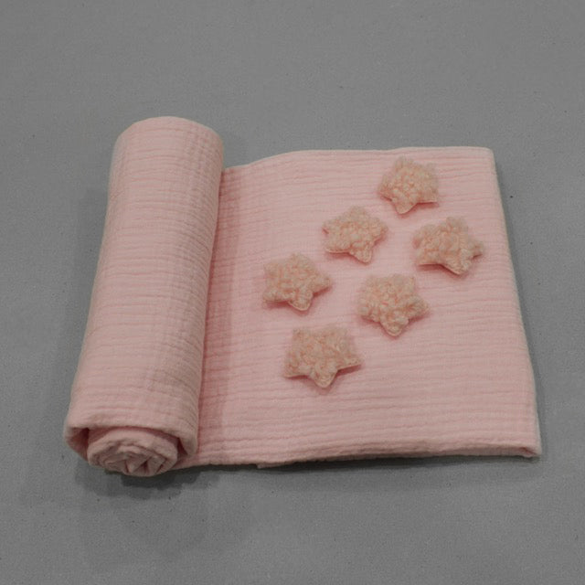 Baby Pink Bouclé Star Swaddle Blanket