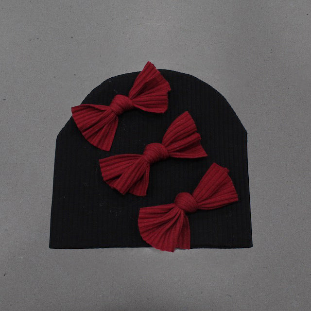 Black + Burgundy Ribbed Triple Bow Beanie