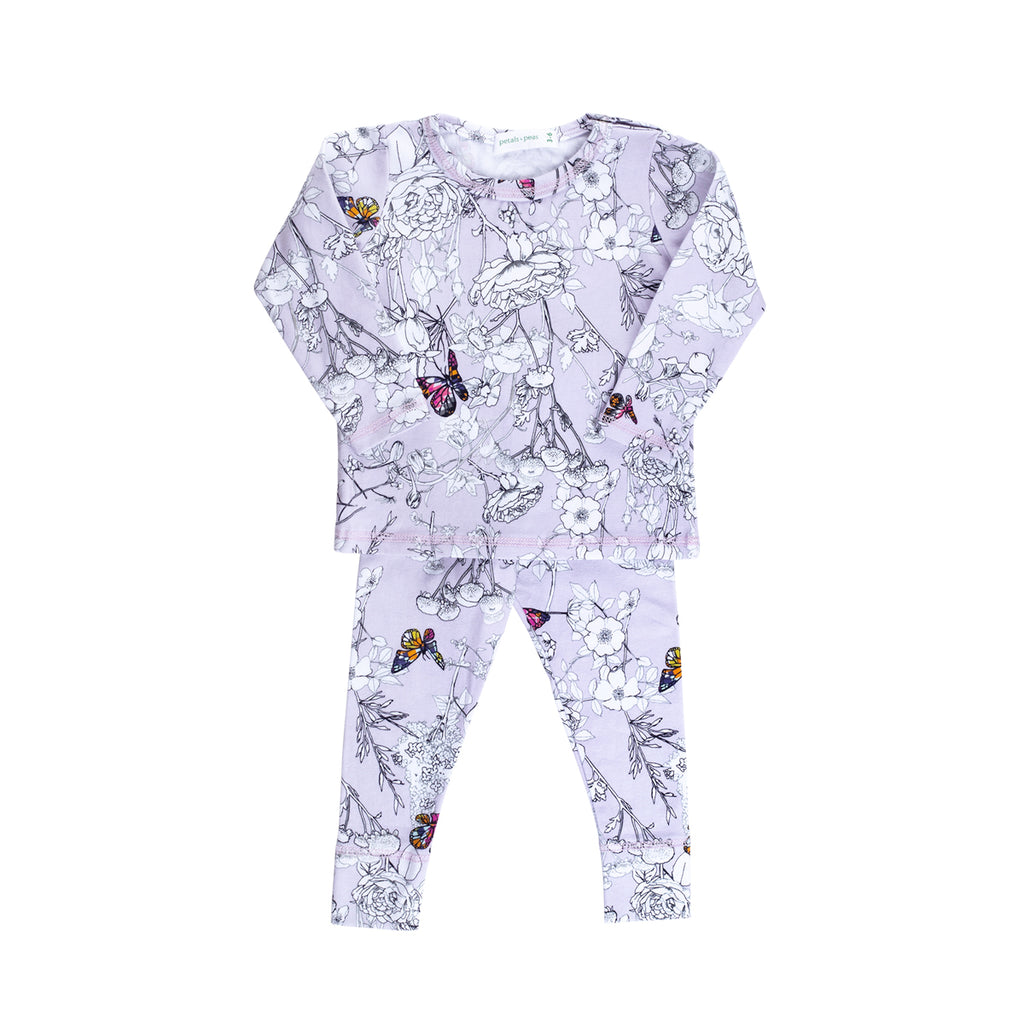 Lavender Butterfly Snap Tee & Legging Set