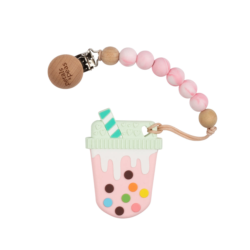 Pinklicous Milk Teether + Wood Silicone Paci Clip