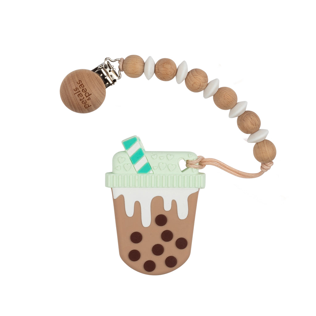 Chocolicous Milk Teether + Wood Silicone Paci Clip