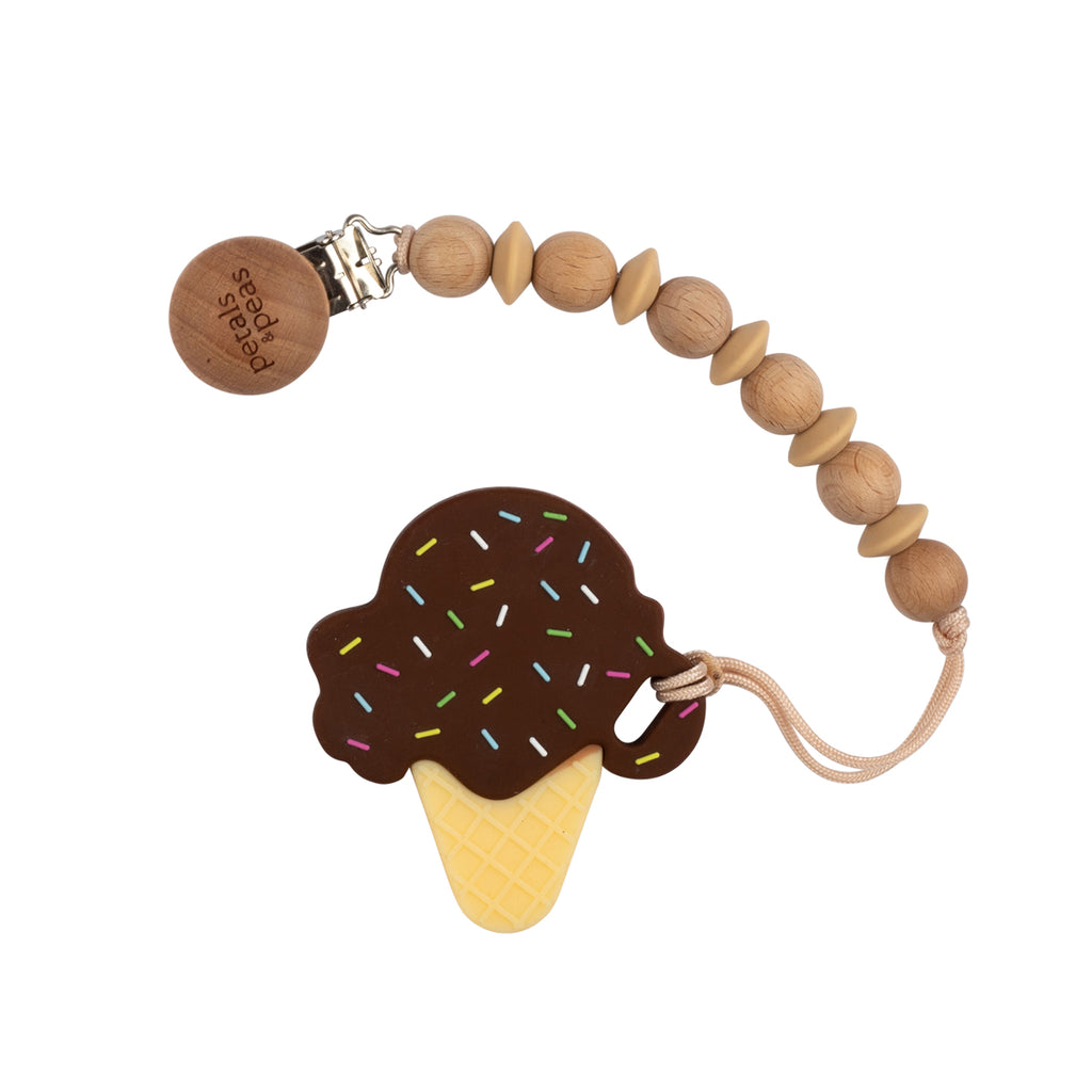 Brownie Ice-Cream Teether + Wood Silicone Paci Clip