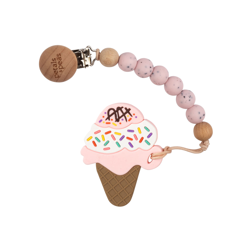 Strawberry Shortcake Ice-Cream Teether + Wood Silicone Paci Clip