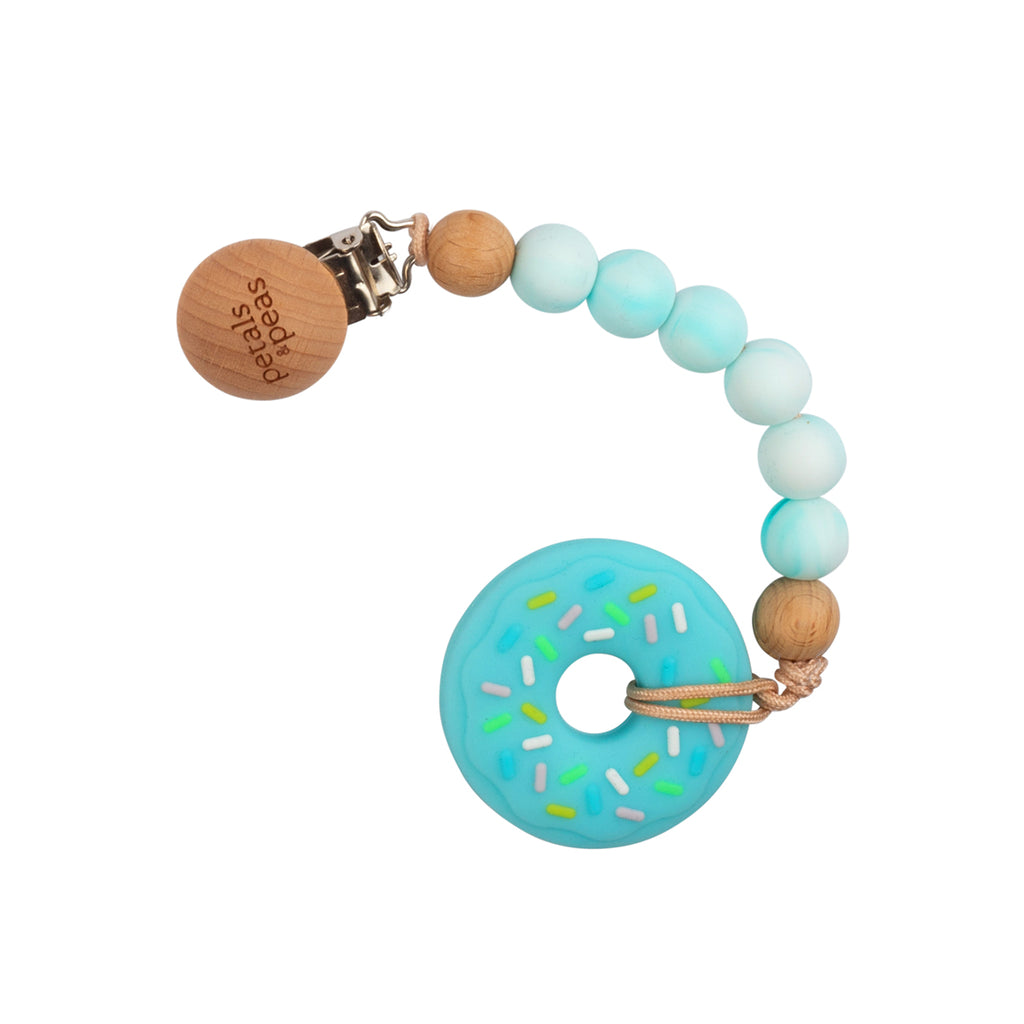 Bluegoo Donut Teether + Wood Silicone Paci Clip